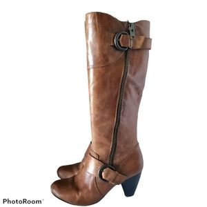 Born Crown Tall Distressed Brown Leather Boots 9.5